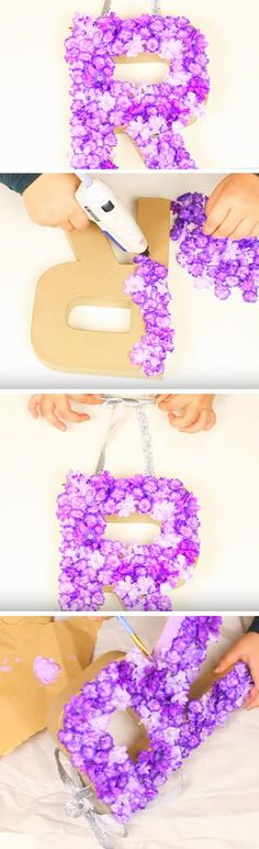 Monogrammed Floral Door Decor | 35 + DIY Christmas Gifts for Teen Girls | Easy Summer Crafts for Teens to Make