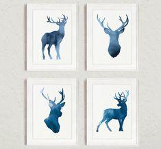 Navy Deer Set of 4, Giclee Art Print,  Blue Deer Silhouette, Watercolor Painting, Kids Wall Decor, Abstract Animal Print