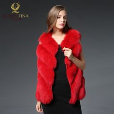 2017 Winter Warm Thick Fox Fur Coat Jackets for Women Sleeveless Outwear Coats Genuine Fox Fur Vest Red Real Fox Fur Vests 70cm #Affiliate