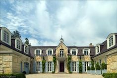 French blue shutters on a French Chateau in Lake Forest French Style Homes, Country Style Homes, French Country Style, Dream Home Design, My Dream Home, Country Stil, French Exterior, Blue Shutters, French Castles