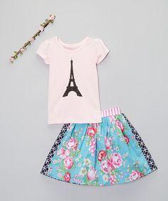 Another great find on #zulily! Aqua Floral Skirt Set - Toddler & Girls #zulilyfinds
