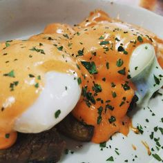 The Benedict Uno from Tavern in Nashville. It is braised short ribs, two poached eggs, Tabasco hollandaise, all on top of super fresh avocado. It normally comes on an English muffin but I requested it to be gluten free. I highly recommend this, but be warned- this is EXTREMELY spicy.
