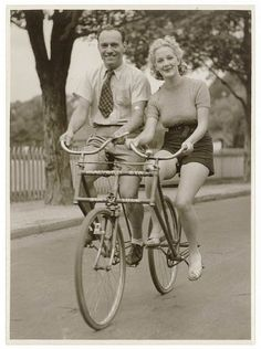vintage tandem bicycle, side by side- For more effective arguing while you try to pedal in unison!