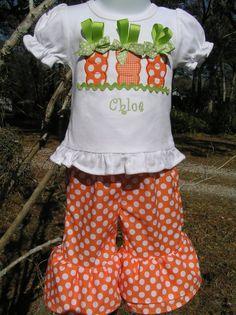 Carrot Ribbon Capri/Pant Set by juliesonny on Etsy, $41.99