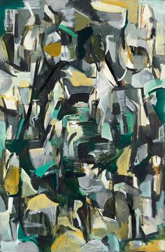 """""""Untitled"""", ca. 1950. Oil on canvas, 57 1/2 x 38 in (146.05 x 96.52 cm). Collection of the Joan Mitchell Foundation, New York. © Estate of Joan Mitchell."""