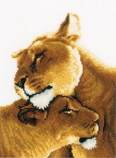 image of Lion Friendship Cross Stitch Kit Counted Cross Stitch Kits, Cross Stitch Charts, Dresden Plate Quilts, African Life, Cross Stitch Cushion, Foto Gif, Lion Images, Beautiful Lion, Pet Organization