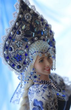 Gzhel style doll Alenushka by Russian Doll artist Larisa Isayeva Dolly Doll, Russian Fashion, Russian Style, Ball Jointed Dolls, Stone Painting, Captain Hat, Barbie, Arts And Crafts, Crochet Hats