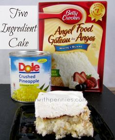 Instructions 1.Preheat oven to 350 degrees.  2.In a large bowl, combine crushed pineapple including the juice and angel food cake. Pour into an ungreased 9x13 pan.  3.Bake 30-35 minutes or until cake springs back when lightly touched, do not over bake.  4.Top with whipped topping if desired.