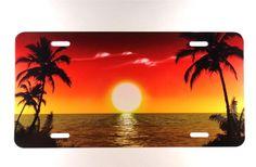 NAUTICAL CUSTOM ART LICENSE PLATE BEACH SCENE ORANGE SUNSET SKY SEA LIFE PLATE