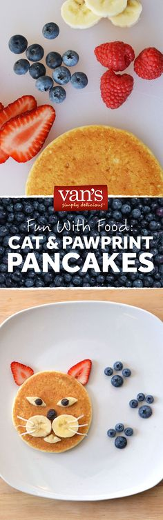 Because pancakes are the cat's meow! Make this fun breakfast with bananas, blueberries, strawberries and more!