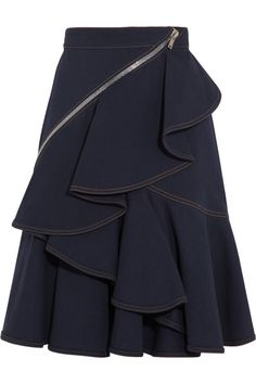 Indigo mid-weight denim Ruffled, wrap-around zip detail, fully lined Concealed zip fastening along side 98% cotton, 2% elastane Dry clean
