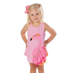 Precious pink striped dress features layered nylon spandex flamingo applique with bow and ruffle in back.