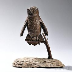 Constance Barnard Pach Sculpture of an Owl Bronze, granite Dover, Massachusetts, 1980 Owl with wings slightly spread perche
