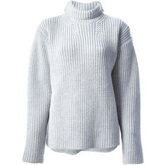 Rochas ribbed turtle neck jumper (19 380 UAH) ❤ liked on Polyvore featuring tops, sweaters, grey, polo neck sweater, grey ribbed sweater, grey turtleneck, ribbed turtleneck and rib sweater