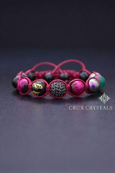 Rosso passione, pietra naturale, Shamballa bracciale su donne braccialetto perline, avvolgere il bracciale, occhio rosso tigri, onice nero, regalo di San Valentino