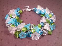 Flower Bracelet White Blue Green Bouquet Silver by justCHARMING, $30.00 https://www.etsy.com/listing/34231300/flower-bracelet-white-blue-green-bouquet