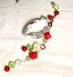 Red & Green Crystal Rear View Mirror Charm by sparklesbydianne, $10.50