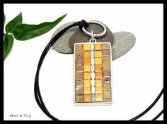 Mosaic Art Jewelry  Rustic Mosaic Pendant Moroccan by MothAndTwig
