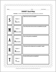 Smart Goals Worksheet | SMART Goals Template | Worksheets for Art