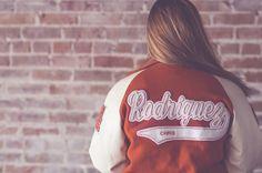 Letterman jacket. High school senior props.