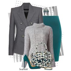 """""""Teal & Gray"""" by sassafrasgal on Polyvore"""
