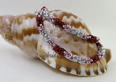 Chainmaille Necklace and Bracelet Set, Byzantine Chainmail Set,  Silver, Pink and Red Necklace and Bracelet, Chainmaille Jewelry
