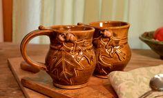 Coffee mug ceramic tea cup oak leaf acorn fall by hughespottery, $35.00