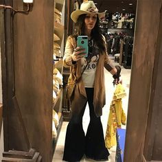 WEBSTA @natasha_ary_82 I believe I'll go ahead and take this @charlie1horse hat on home with me   Faux Suede Ombré Duster Let Me Roam Tee Black Large Bells from @baharanchwesternwear.com_  Use My Code: NATASHA15 to Save Bell Bottom Pants, Bell Bottoms, Flare Jeans, Hat, Let It Be, Tees, Black, Women, Fashion