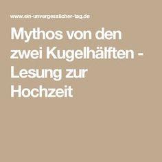 Mythos von den zwei Kugelhälften - Lesung zur Hochzeit