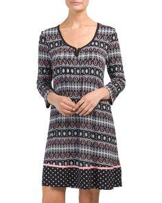 Three-quarter+Sleeve+Short+Nightgown