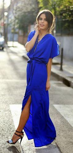Royal Blue Maxi Dress & Lovely Heels