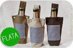 """Flaschentaschen aus Jeansresten / Bottle bags made from old jeans / Upcycling  für den Getränkehalter als """"Innenleben"""" ?"""