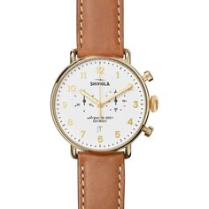 Shinola 43mm Canfield Chronograph Watch ($900) ❤ liked on Polyvore featuring men's fashion, men's jewelry, men's watches, tan, mens leather strap watches, mens chronograph watches, mens white dial watches, mens white face watches and stainless steel mens watches