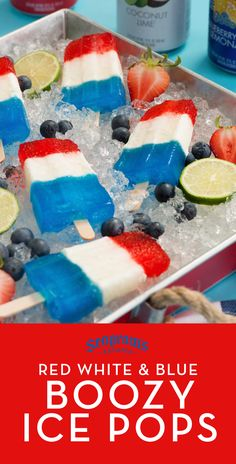 These red white and blue boozy ice pops are just for the adult's table! Made with Seagram's Escapes limited-edition Red White & Boom collection, with layers of crisp citrus, creamy coconut and classic strawberry daiquiri! Red White And Boom, Red White Blue, 4th Of July Party, Fourth Of July, Blue Cocktails, Ice Pops, Daiquiri, Summer Bbq, Party Entertainment