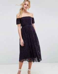 d62da81bb76 Asos Off the Shoulder Lace Prom Midi Dress Lace Midi Dress