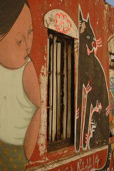 Open Museum of Urban Art/São Paulo city/Brazil graffiti Graffiti ? Red fox graffiti girl and cat - street art in Valparaiso. Murals Street Art, 3d Street Art, Street Art Graffiti, Street Artists, Mc Escher, Guernica, Banksy, Best Graffiti, Art Optical