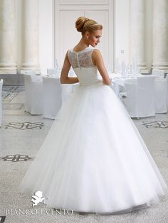 TULIP | Bianco Evento wedding dress coming soon to Rocks & Roses #lace #ballgown Www.rocks-roses.co.uk Tel:01609 258518