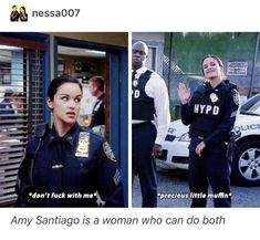 Get yourself a woman that can do both! Brooklyn 9, Brooklyn Nine Nine Funny, Best Tv Shows, Favorite Tv Shows, Movies Showing, Movies And Tv Shows, Fandoms, Jake And Amy, Detective