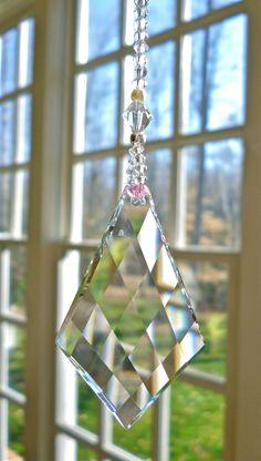 "Diamond Twist Swarovski Crystal Suncatcher with Swarovski Diamond Pendant, and Swarovski Pink Crystals and Pearls - ""TESS"" - Long Swarovski Pendant, Swarovski Crystal Beads, Swarovski Pearls, Sun Catcher, Dream Catcher, Mirror Hangers, Hanging Crystals, Diamond Pendant, Wind Chimes"