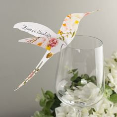 Floral Affair Hummingbird Wine Glass Place Card or Escort card