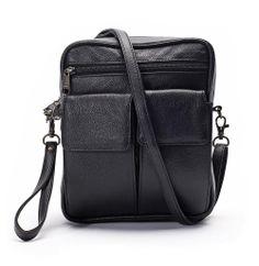 Winn Leather Man Bag with Eyeglass Case. Exterior cell phone pockets