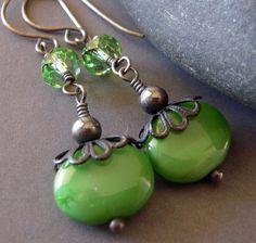 Great Green Czech Glass Earrings Oxidized Sterling Silver by jewelqueen, $15.00