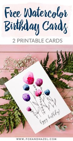 Free Printable Watercolor Birthday Cards – Birthday Presents Watercolor Birthday Cards, Watercolor Cards, Birthday Painting, Watercolour, Calligraphy Birthday Card, Birthday Typography, Watercolor Ideas, Birthday Gifts For Grandma, Happy Birthday Cards