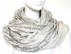 Mothers Tribute Book Scarf with a literary quotes. <b>PERFECT GIFT FOR ANY OCCASION</b></p> <p><b>• Book Scarf is everything you're looking for in a present - absolute must-have for the any season, perfect conversation starter, unique literary pattern. Best literary gift for book lovers both stylish and inspirational. Book Scarf will add intellectual vibes to any outfit.</b></p>. <p><b>DETAILS</b></p> <p>• Infinity/loop scarf</p> <p>• Oatmeal</p> <p>• Very soft rayon-poly blend jersey…