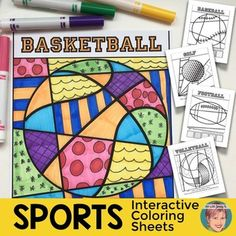 Sports Coloring sheets - interactive and pattern-filled Pop Art coloring sheets including writing prompts--NO PREP for teachers tons of FUN for kids! This unique set of Pop Art sports coloring sheets features 9 interactive coloring sheets, 9 pattern filled coloring sheets, 2 writing prompts and a blank writing prompt page to create your own writing assignment to fit your needs. Sports included are; Volleyball, Tennis, Golf, Basketball, Football (American), Football (international), Soccer…