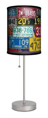 Lamp-In-A-Box SPS-TTN-VTGPL Transportation - Vintage Plates Sport Silver Lamp - Amazon.com