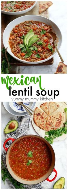 This Mexican Lentil soup is vegetarian, vegan, and gluten free. Loaded with protein and veggies, this is the perfect healthy one-pot meal.