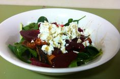 Chicken, beetroot and goat's cheese salad