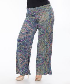Look what I found on #zulily! Navy & Pink Paisley Palazzo Pants - Plus #zulilyfinds