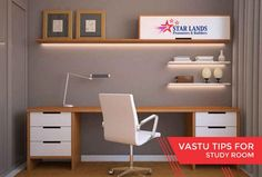 Study Room #Vastu‬ ‪tips for #study #room – The book shelf should never be planned above the study table – The book rack should be in the south or the western wall – The shape of the study table should either be square or rectangle – Children should face towards East or North while studying – One should prefer not to have the toilets in the study room, however bathrooms are fine